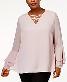 Love Scarlett Trendy Plus Size Ruffle Lace-Up Top