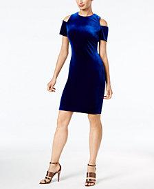 Calvin Klein Velvet Cold-Shoulder Dress
