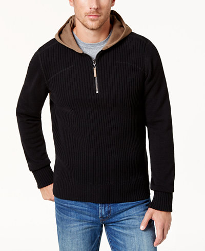BS by Blake Shelton Men's Quarter-Zip Hooded Sweater, Created for Macy's