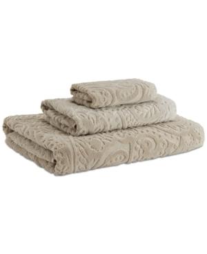 Kassatex Francesca Cotton Velour Paisley Washcloth Bedding