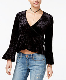 American Rag Juniors' Velvet Wrap Top, Created for Macy's