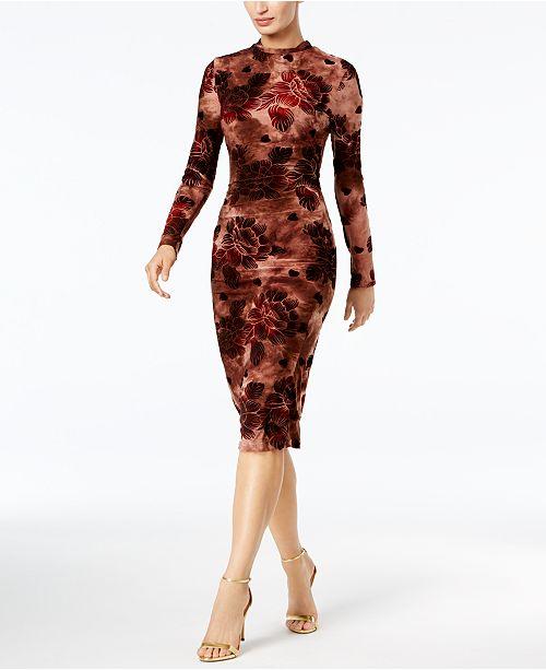 endless rose Velvet-Flocked Printed Midi Dress