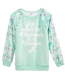 Evy of California Holiday Unicorn Fuzzy Plush Sweatshirt, Toddler Girls (2T-5T)