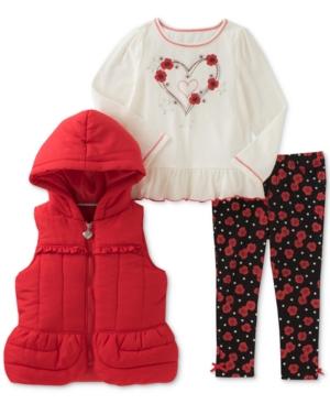 Kids Headquarters 3Pc Vest TShirt  Denim Leggings Set Toddler Girls (2T5T)
