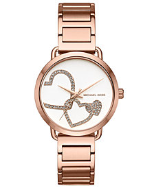 Michael Kors Women's Portia Rose Gold-Tone Stainless Steel Bracelet Watch 37mm