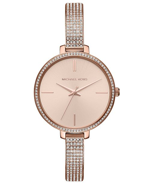 1e585d69bfba Michael Kors Women s Jaryn Rose Gold-Tone Stainless Steel Bracelet Watch ...
