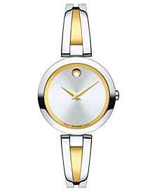 Movado Women's Swiss Aleena Two-Tone Stainless Steel PVD Bangle Bracelet Watch 27mm