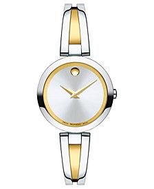 Movado Women's Swiss Aleena Two-Tone Stainless Steel PVD Bangle Bracelet Watch 27mm