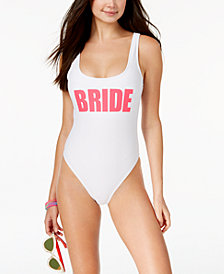 California Waves Juniors' Bride Graphic One-Piece High-Leg Swimsuit, Created for Macy's