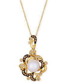 Le Vian Chocolatier® Vanilla Pearl™ (9-1/2mm) & Diamond (7/8 ct. t.w.) Pendant Necklace in 14k Gold