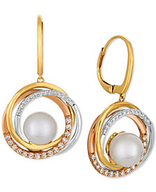 Le Vian® Cultured Freshwater Pearl (9mm) & Diamond (3/8 ct. t.w.) Drop Earrings in 14k Gold, White Gold & Rose Gold
