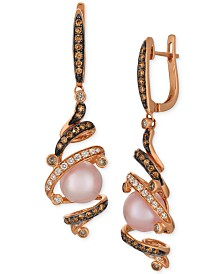 Le Vian Chocolatier® Strawberry Pearls® (8-1/2mm) & Diamond (5/8 ct. t.w.) Drop Earrings in 14k Rose Gold