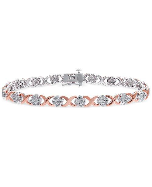 Macy's Diamond Cluster X Link Bracelet (3 ct. t.w.)