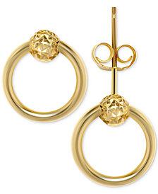 Doorknocker Stud Earrings in 10k Gold