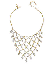 I.N.C. Gold-Tone White Beaded Net Statement Necklace, Created for Macy's