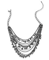 I.N.C. Hematite-Tone Pavé Beaded Multi-Layer Statement Necklace, Created for Macy's