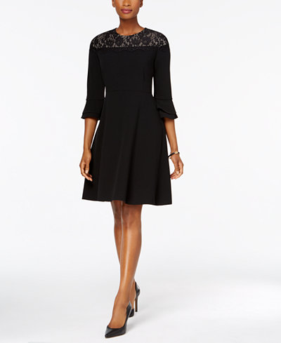 Charter Club Petite Lace-Yoke Fit & Flare Dress, Created for Macy's