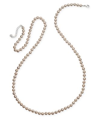 Silver-Tone Imitation Pearl Long Statement Necklace, Created for Macy's