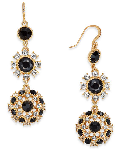 Charter Club Gold-Tone Stone and Crystal Disc Double Drop Earrings, Created for Macy's
