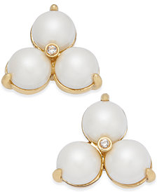 kate spade new york 14k Gold-Plated Imitation Pearl Trio Stud Earrings