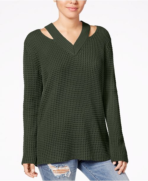 20bfe7801 Hooked Up by IOT Juniors' Cutout Collar Sweater & Reviews ...