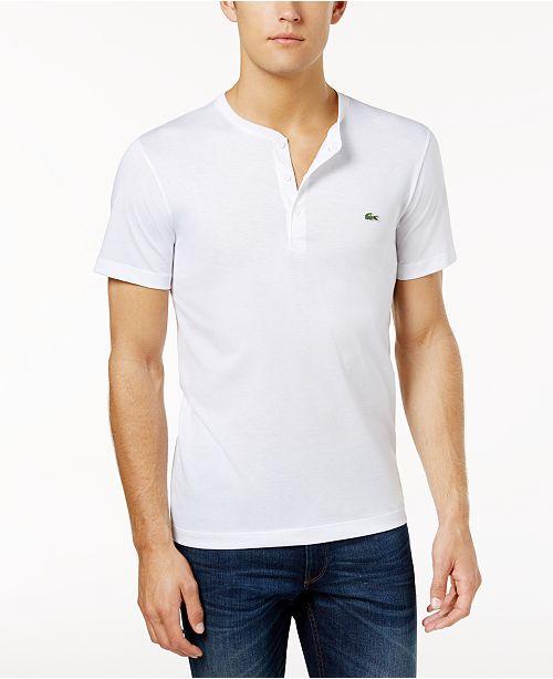 224f0e7ff81f4 Lacoste Men s Henley Neck Pima Cotton Jersey T-shirt   Reviews - T ...