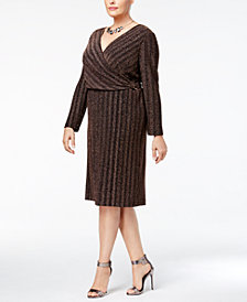 Sangria Plus-Size Shine Surplice Dress