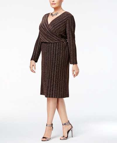Sangria Plus-Size Shine Surplice Dress