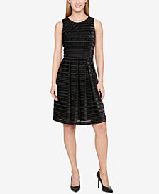 Tommy Hilfiger Velvet Shadow-Stripe Fit & Flare Dress