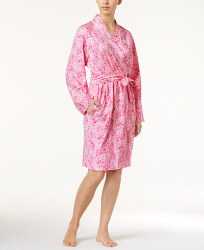 Charter Club BCRF Cotton Floral-Print Short Robe, Created for Macy's
