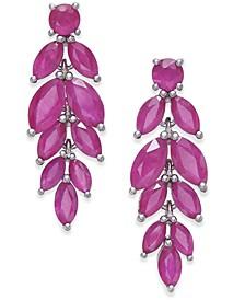 Ruby Leaf Drop Earrings (6-1/2 ct. t.w.) in Sterling Silver