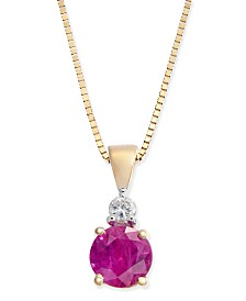 Ruby (1/2 ct. t.w.) and Diamond Accent Pendant Necklace in 14k Gold