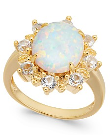 Lab-Created Opal (2 ct. t.w.) & White Topaz (1 ct. t.w.) Ring in 14k Gold-Plated Sterling Silver