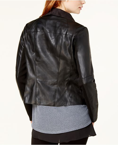 Black Leather Jacket Flyaway Deep III Created Faux Bar Macy's for qUBzx7w