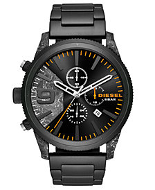Diesel Men's Chronograph Rasp Chrono Black Stainless Steel Bracelet Watch 50mm