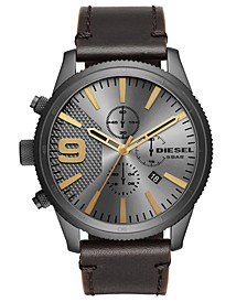 Men's Chronograph Rasp Chrono Dark Brown Leather Strap Watch 50mm