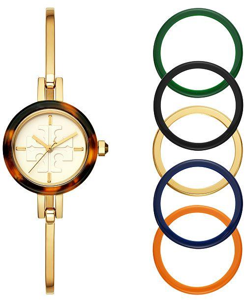 Tory Burch Women's Gigi Gold-Tone Stainless Steel Bangle Bracelet Watch 27mm Gift Set