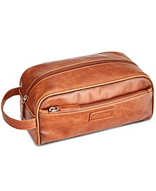 Men's Distressed Faux-Leather Travel Kit