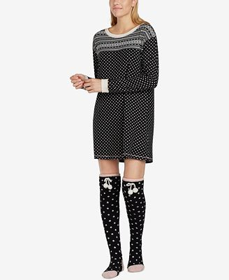 Layla Mixed-Print Knit Sleepshirt & Socks Set