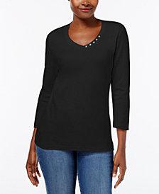 Karen Scott Petite Button-Neck Top, Created for Macy's