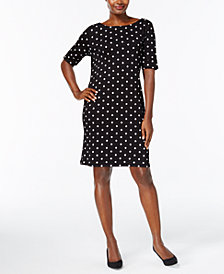 Karen Scott Petite Dot-Print Shift Dress, Created for Macy's