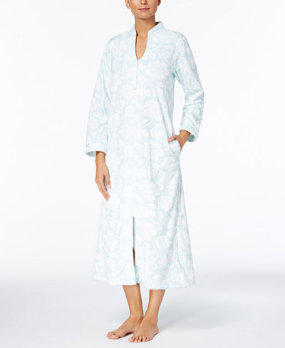 Charter Club Textured Zip-Front Long Robe, Created for Macy's