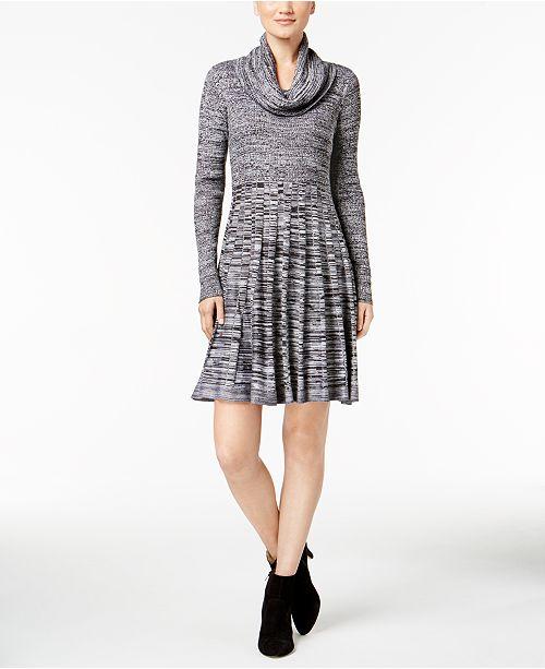 Calvin Klein Cowl-Neck Fit & Flare Sweater Dress