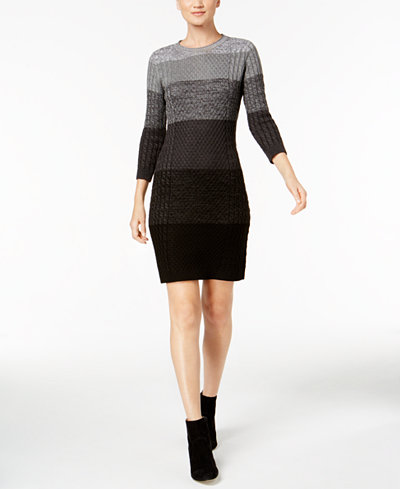 Calvin Klein Cable-Knit Striped Sweater Dress