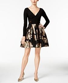 V-Neck Brocade Illusion Dress