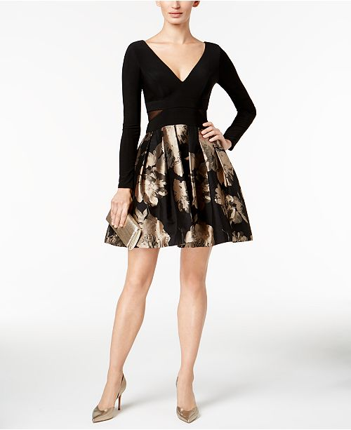 XSCAPE V-Neck Brocade Illusion Dress