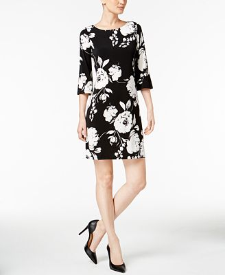Calvin Klein Printed 3/4-Sleeve Shift Dress