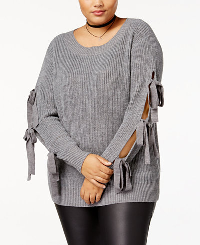 Soprano Trendy Plus Size Tie-Sleeve Sweater