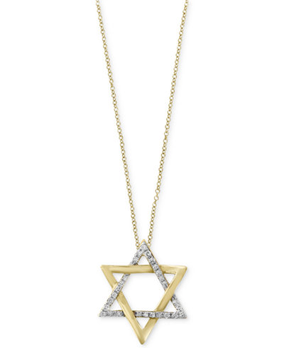 D Oro By Effy 174 Diamond Star Of David Pendant Necklace 1