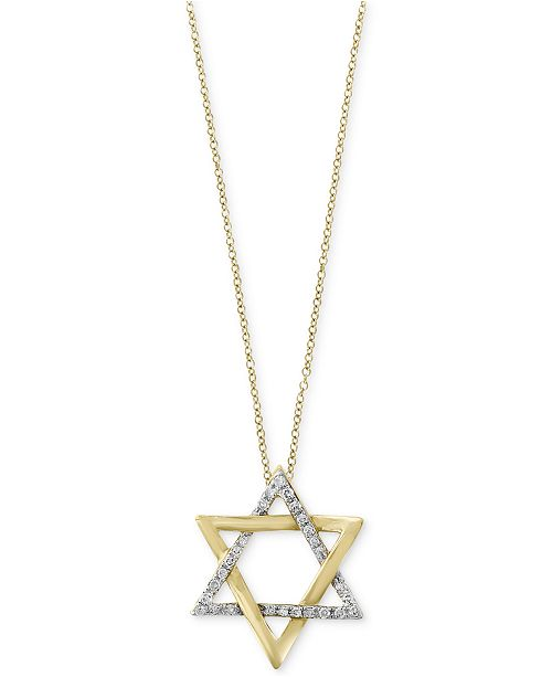 EFFY Collection D'Oro by EFFY® Diamond Star of David Pendant Necklace (1/10 ct. t.w.) in 14k Gold